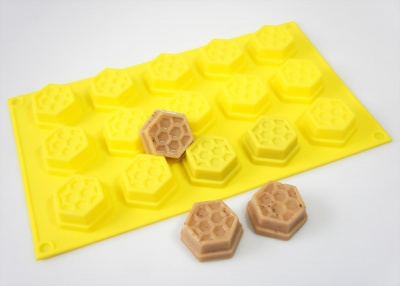 15 cell YELLOW Honeycomb / Bees Wax Chocolate and Candy Silicone Mould