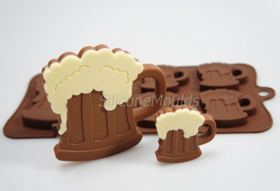 4+1 Dad's Beer Mug Novelty Chocolate Bar or Lolly Silicone Mould