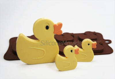 4+1 Ducks Novelty Chocolate Bar or Lolly Silicone Mould - Baby Animals