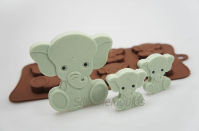 4+1 Elephant Novelty Chocolate Bar or Lolly Silicone Mould - Baby Animals