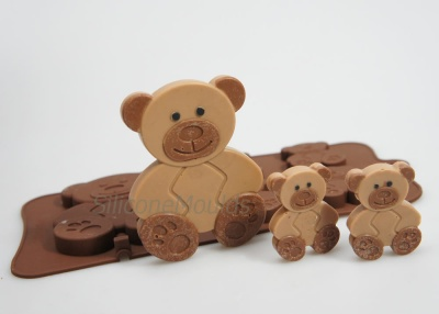 4+1 Teddy Bears Novelty Chocolate Bar or Lolly Silicone Baking Mould
