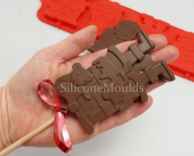 4 cell Santa Chimney Lolly / Chocolate Bar Silicone Mould