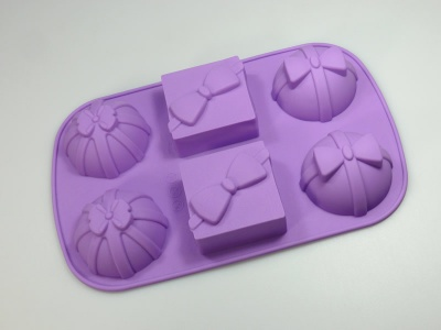 6 cell GIFT / PARCEL silicone bakeware mould - soap / wax / cakes