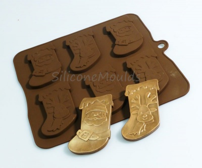6 Christmas Stockings Chocolate / Candy Silicone Bakeware Mould ©SJK