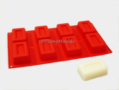 8 cell RECESSED RECTANGLE Silicone Cake Baking or Soap Mould