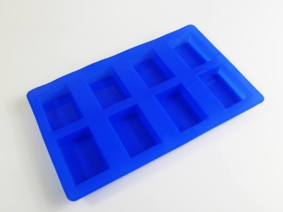 8 cell Blue Rectangular Silicone Cake / Soap Mould - approx 95g bars
