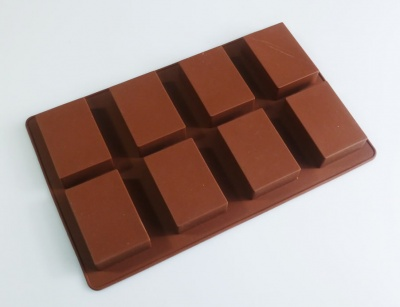 8 cell Brown Rectangular Silicone Soap / Cake Mould - approx 95g bars
