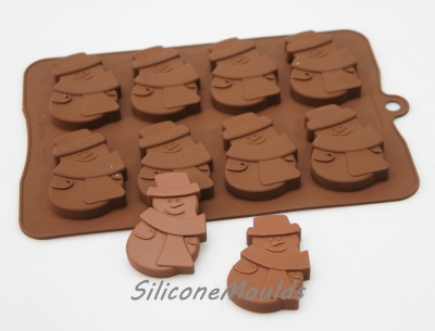 8 cell Large Snowman Christmas Silicone Chocolate Cookie Mould