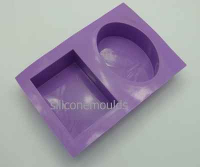 Two Bar (Oval and Rectangular) Bath Soap Silicone Mould