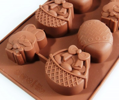 8 Rabbit / Bunny / Eggs / Baskets Chocolate Silicone Baking Mould - Easter