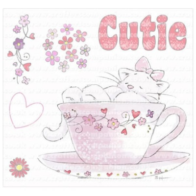 Strawberry Kisses - Cutie / Cat in Tea-Cup Stamp Set