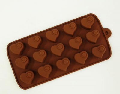 15 Chocolate Heart Swirl Silicone Chocolate Candy Mould