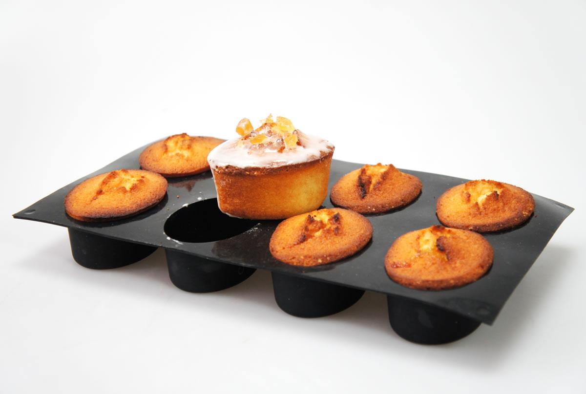 8 Black Friand Oval Silicone Cake Baking Mould