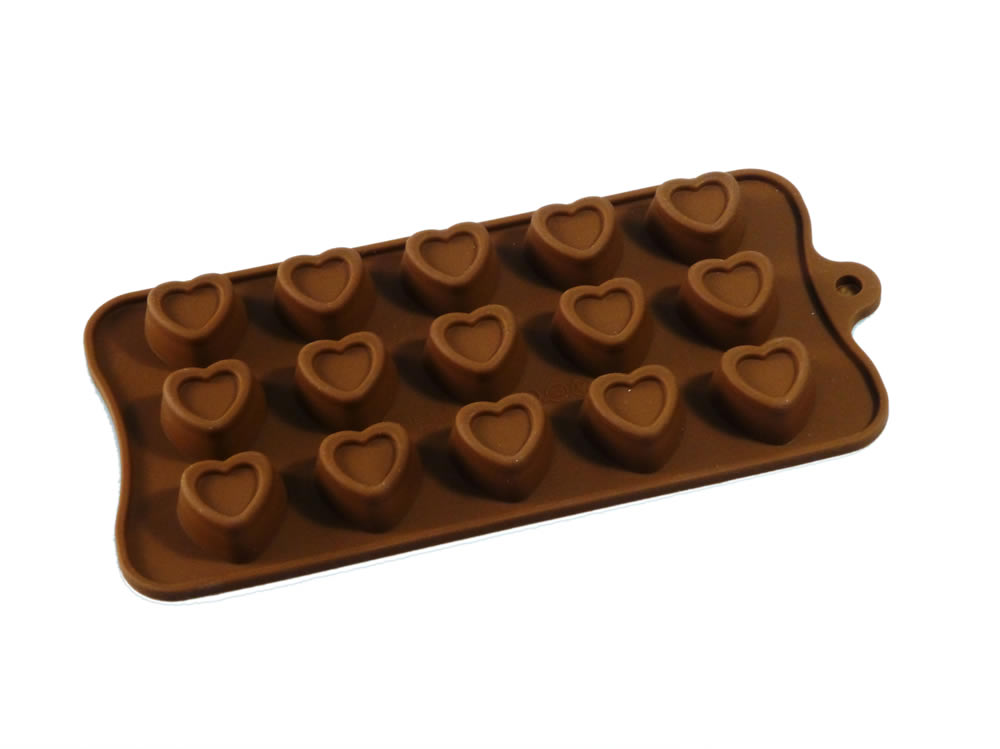 15 cell indented hearts silicone chocolate mould candy wax