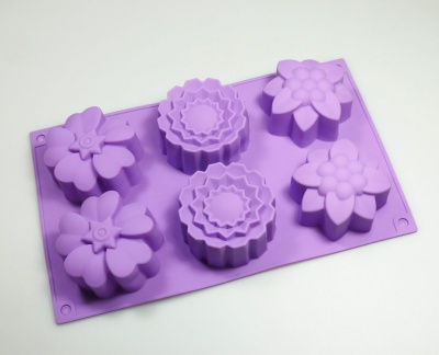 6 cell Mixed Flowers Silicone Baking / Soap Mould