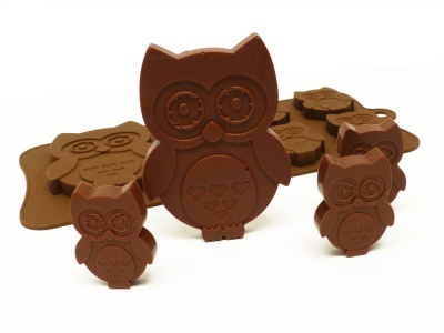 6+1 Owl Chocolate / Candy Silicone Baking Mould - Woodland Animals