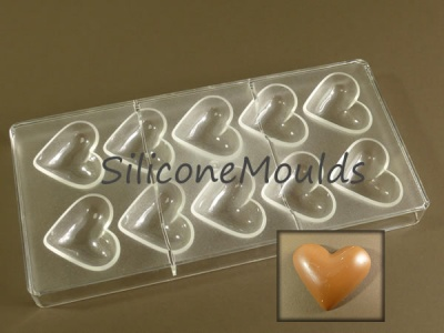 10 cell Large Hearts - Professional Quality Polycarbonate Chocolate Mould