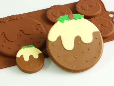 4+1 Christmas Pudding Chocolate Collection Silicone Mould