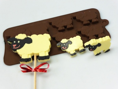 4+1 Sheep Lolly / Chocolate Bar Silicone Baking Mould - Farm Animals
