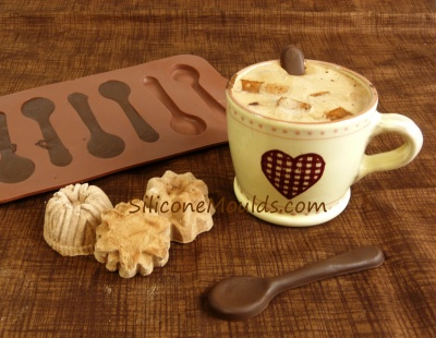 6 cell Spoons Chocolate Collection Silicone Bakeware Mould