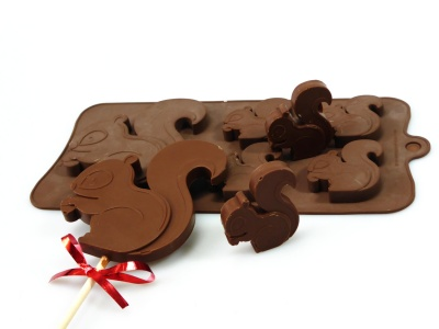 4+1 Squirrel Lolly / Chocolate Bar Silicone Baking Mould - Woodland Animals