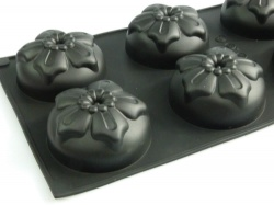 6 cell Hibiscus Flower Silicone Bakeware Mould - for Cakes, Chocolate, Concrete Art