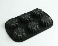 6 cell Sunflower Flower Silicone Baking Mould - also use for Soap / Concrete Art
