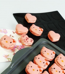 HEART / CAT - Double Sided Macaron Mat - Silicone Baking Mat - Colour May Vary