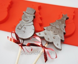 4 cell Snowman / Christmas Tree Lolly / Chocolate Bar Silicone Mould