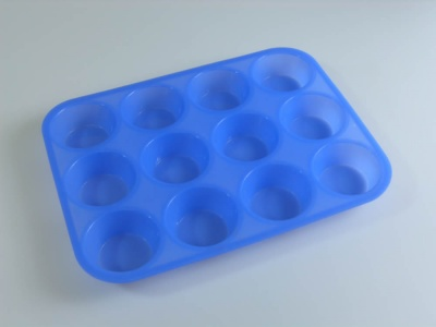 12 BLUE Standard Muffin Cupcake Silicone Cake Baking Mould