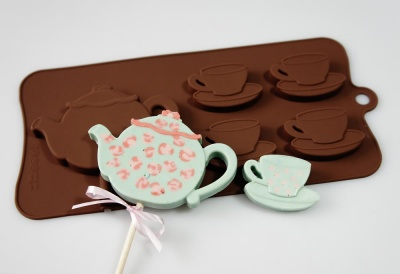 4+1 Vintage Teapot and Teacups Lolly / Novelty Chocolate Bar Silicone Mould