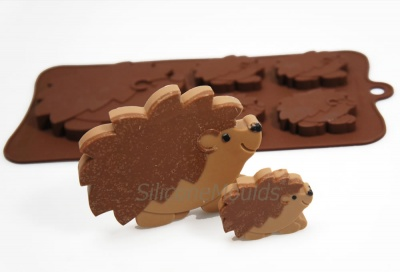 4+1 Hedgehogs Novelty Silicone Chocolate Bar Mould - Woodland Animals