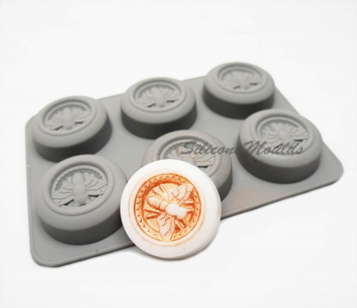 6 cell Circular Honey Bee (Grey) Silicone Baking / Soap / Wax Mould - 42ml vol.