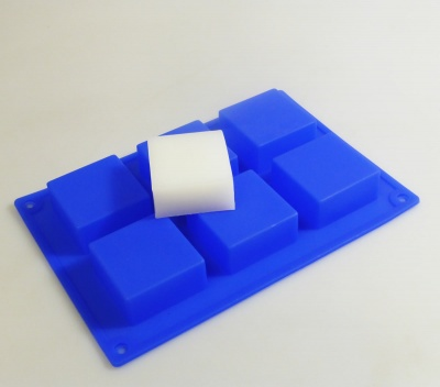 6 cell Blue Square Silicone Soap Mould - Makes 65g Bars