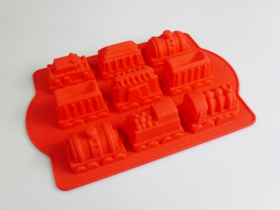 9 cell Miniature Train / Carriages Silicone Cake Baking Mould - CLEARANCE