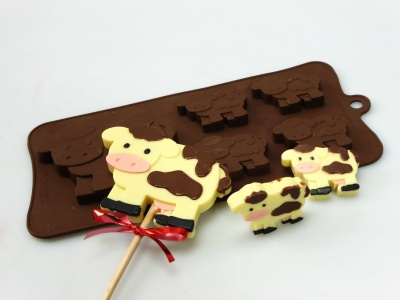 4+1 Cow Lolly / Chocolate Candy Bar Silicone Baking Mould, Farm Animal