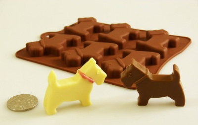 6 Little Scottie / Scotty Dogs - Silicone Chocolate Mould