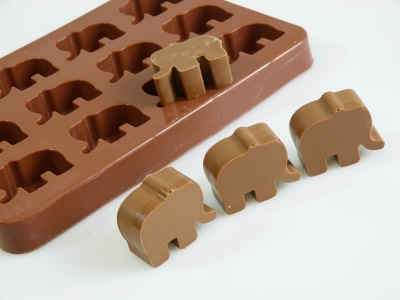 12 cell Chocolate Elephant Silicone Baking Mould