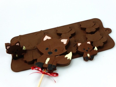 4+1 Fox Lolly / Chocolate Bar Silicone Baking Mould - Woodland Animals