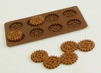 8 cell STEAMPUNK GEARS Chocolate Collection Silicone Mould