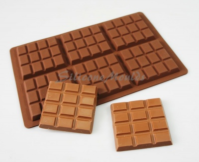 65g - 6 Square 12 Section Silicone Chocolate Bar Mould - Professional Chocolatiers N077
