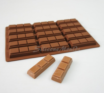 21g - 15 cell 3 Finger Section Rectangular Silicone Chocolate Bar Mould N080