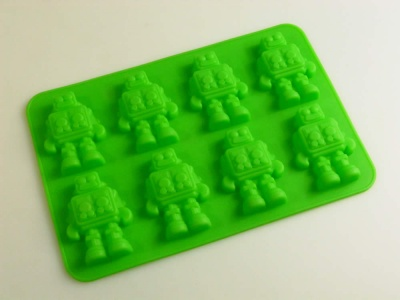 8 cell GREEN Chocolate / Candy Robot Silicone Bakeware Mould