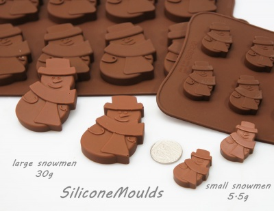 12 cell Small Snowman (5.5g) Silicone Chocolate Mould - Christmas
