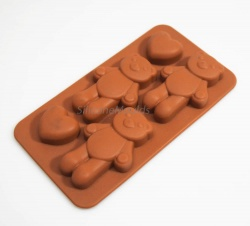 4 cell Bears and Hearts - Silicone Chocolate Mould / Wax / Plaster Craft