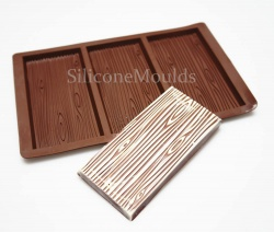 3 bar Wood Grain Chocolate Bar Silicone Mould - Professional Chocolatiers N062