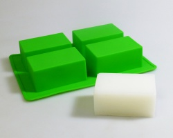 4 cell Big Deep Bath Bar *GREEN*  Silicone Soap Mould