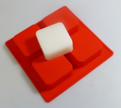 4 cell Square (Rounded Corners) RED Silicone Soap Mould