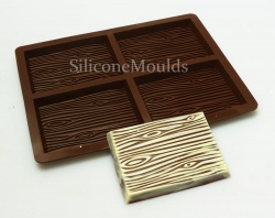 4 cell  Wood Grain Chocolate Medium Bar Collection Silicone Mould - N039