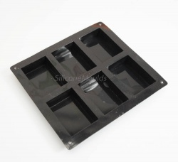 6 cell Rectangular Bar Silicone Mould (100ml volume) - Ideal Soap / Brownies